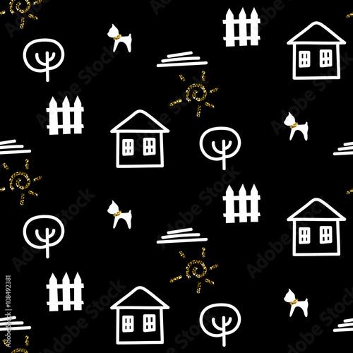 scandinavian-black-courtyard-fun-ornament-with-house