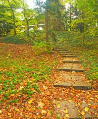 Panel Szklany Podświetlane Schody Nice autumnal scene