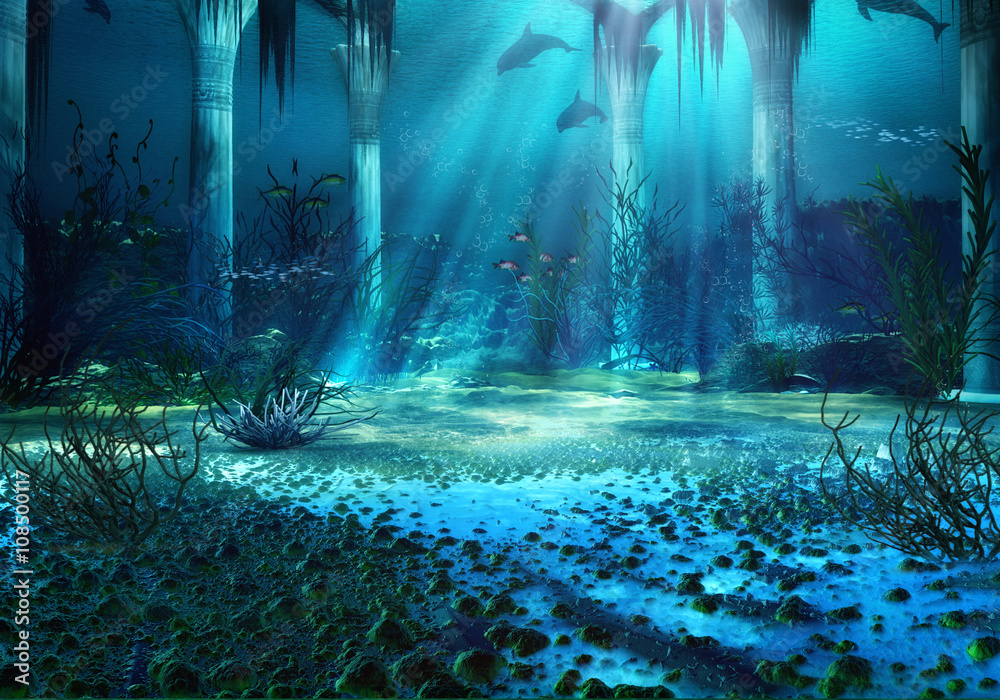 Fototapeta 3D Rendered Underwater Fantasy Landscape