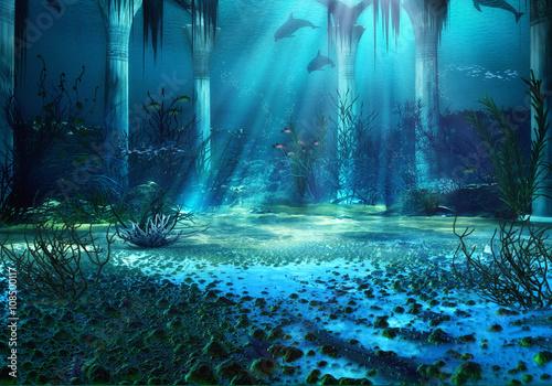 3D renderowane Underwater Fantasy Landscape