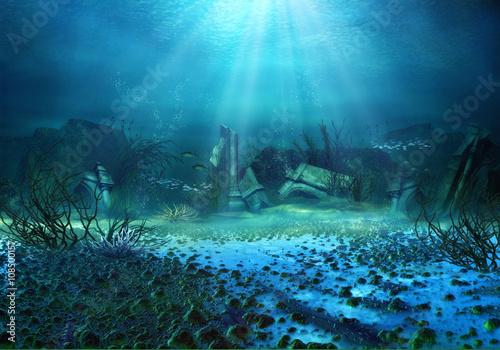 Foto op Aluminium Nachtblauw 3D Rendered Underwater Fantasy Landscape