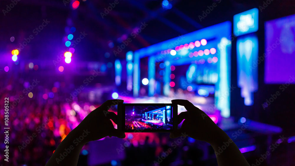 Fototapeta Take photo concert in front of stage