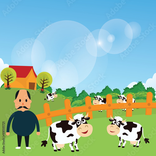 Poster Dogs farmer stand with his farm cow cattle eat grass in green field cartoon vector drawing illustration
