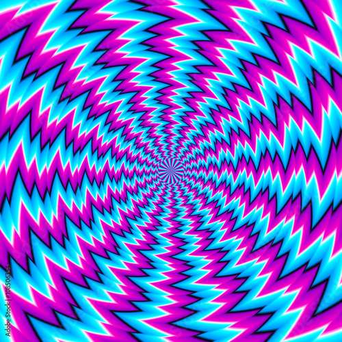 Spoed Foto op Canvas Psychedelic Abstract blue background with spin illusion