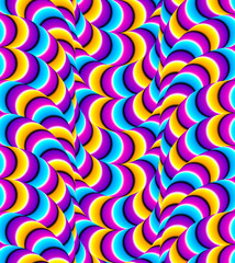 Abstract colorful background with the creeping snakes (motion illusion). Seamless pattern.