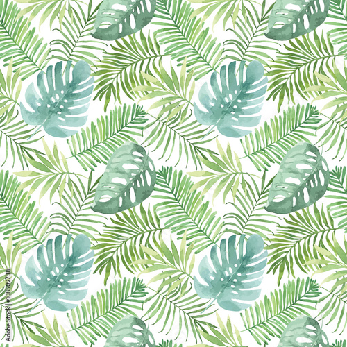 Plissee mit Motiv - Tropical seamless pattern with leaves. Watercolor background with tropical leaves. (von BrushArtDesigns)