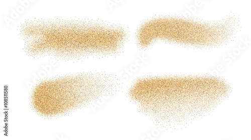 Fototapeta Sand vector elements. Sand stains isolated on white background. obraz