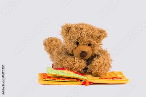 obraz PCV Kleiner Teddybär liest ein Buch
