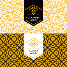 Vector Logo And Packaging Design Templates In Trendy Linear Styl