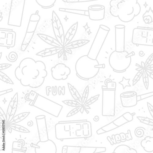 Fototapeta Marijuana weed cartoon seamless vector pattern white