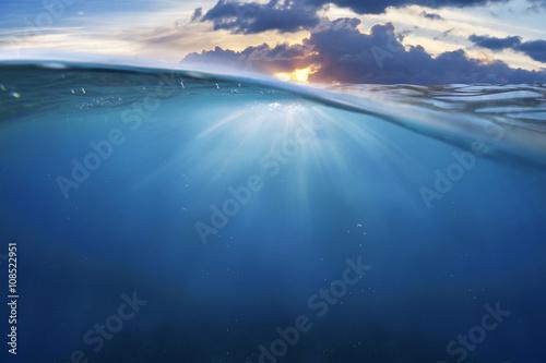 Poster Mer / Ocean ocean half water with sunset sky