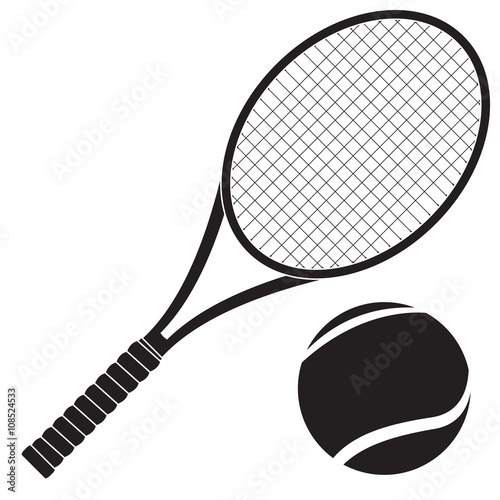 Tennis racket with ball Wallpaper Mural