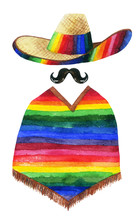 Watercolor Painting Of Man Wearing Sombrero