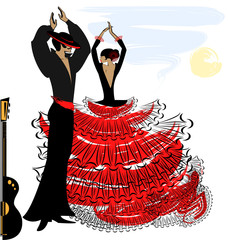 Obraz na Plexiimage of abstract flamenco couple
