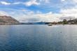 Boat in Wanaka Lake in Southern Lakes, New Zealand