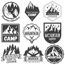 Vector Set Of Mountain Camp Labels In Vintage Style. Camp Outdoor Adventure Concept Illustration.