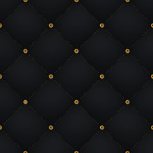Seamless Luxury Dark Black Pattern And Background With Gold Diamond. Vector Illustration
