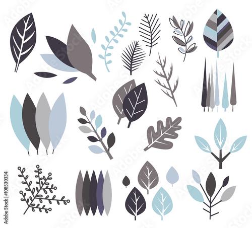 Fototapety, obrazy: Modern Design Leaf Prints Set