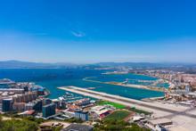 Gibraltar City And Airport Runway And La Linea De La Concepcion