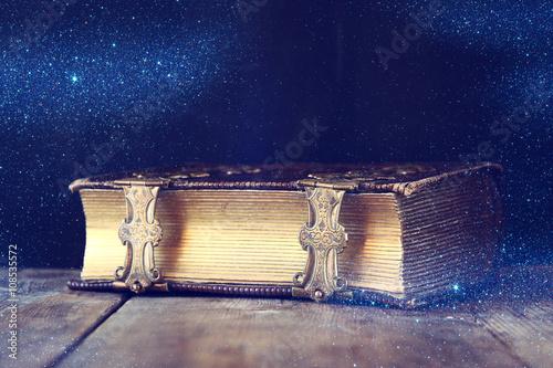 Fotografie, Obraz  low key image of antique story book. vintage filtered. selective