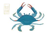 Blue Crab, Vector Cartoon Illu...