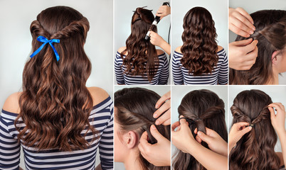 Fototapeta Do fryzjera hairstyle for long curly hair tutorial