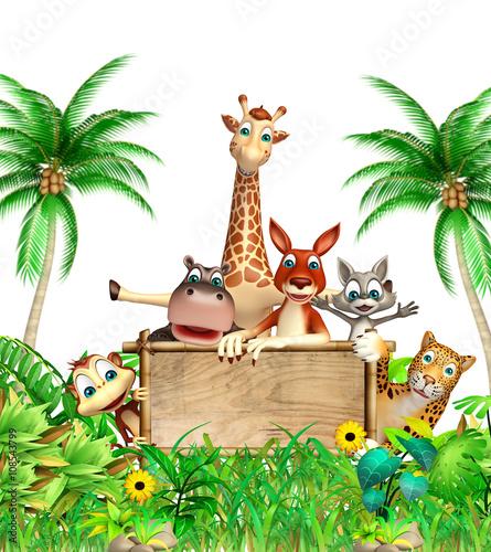 gromada-przyjacielskich-zwierzat-na-tle-palm