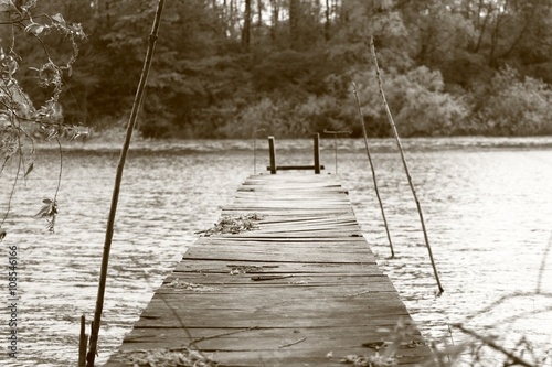 Old dock on lake, sepia technique Poster