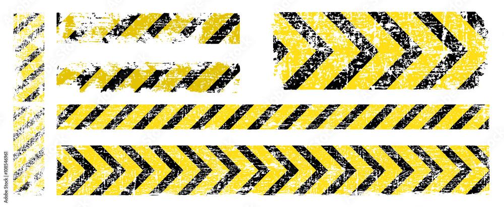 Fototapety, obrazy: different vector worn yellow black stripe, warning of the danger