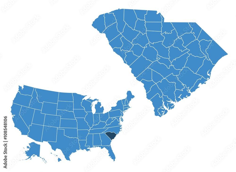 South Carolina state map Foto, Poster, Wandbilder bei EuroPosters