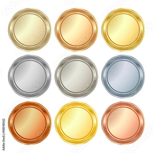 vector set of blank templates of different types of gold platinum