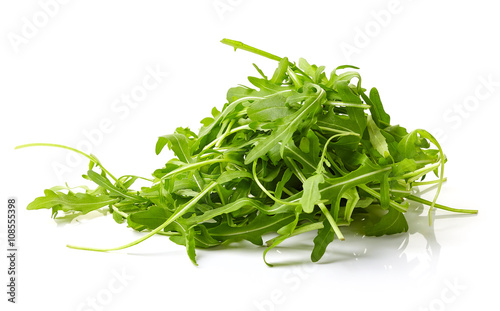 Fresh green arugula on white background Canvas Print