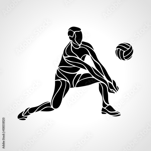 Volleyball player silhouette - 108558120