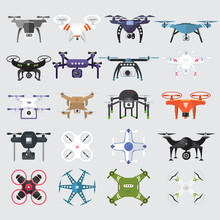 Drones Vector Set. Flat Design Element Drone And Controller Connecting. Illustrate