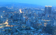 Panoramic night scene of Taipei downtown, View from Taipei 101 ~ A Blue and Gloomy Night in Taipei ~ Aerial view of Taipei City in dusktower !