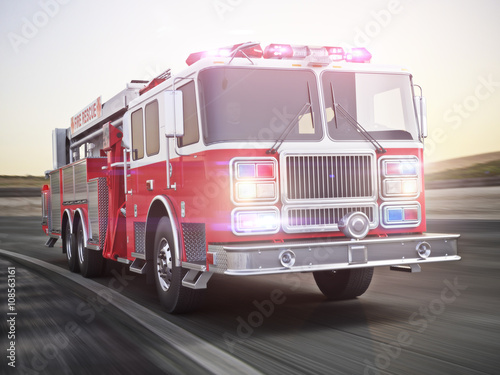 Photographie Generic firetruck illustration angled view ,responding to a call, part of a firs