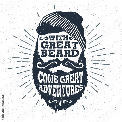 "Photo  Hand drawn vintage label with textured bearded face vector illustration and ""With great beard come great adventures"" lettering"