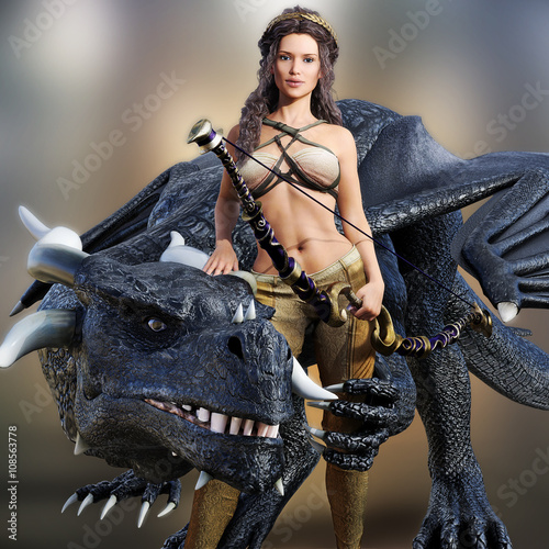 Fotografie, Obraz  Hunter queen and her dragon
