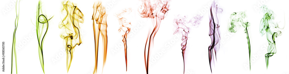 Fototapety, obrazy: collection of patterns of colored abstract smoke isolated on white