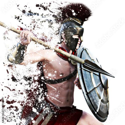 Foto  Spartanischer Angriff, ein spartanischer Krieger im Kampfkleid, das auf einem weißen Hintergrund mit Spritzereffekt angreift