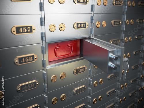Fototapeta Safe deposit boxes with open one safe cell. obraz