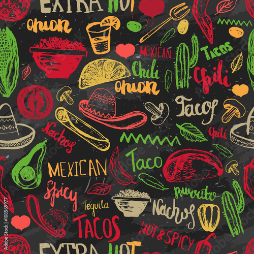 Fotografía  Vector seamless pattern mexican food with lettering