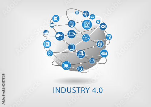 Fotografía  Industry 4.0 infographic. Connected smart devices with globe.