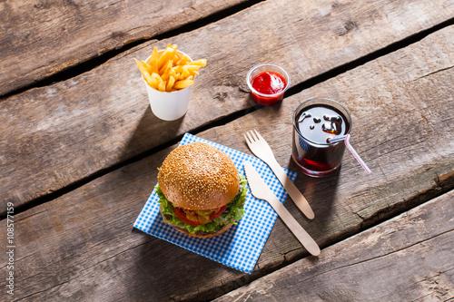 Burger With Ketchup And Cola Burger Menu On Wooden Table Junk Food