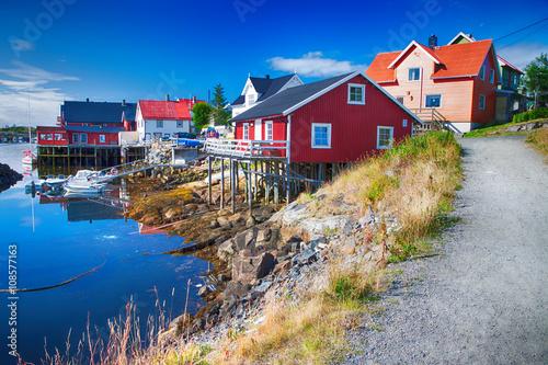 Spoed Foto op Canvas Scandinavië View to typical village in Norway, Europe