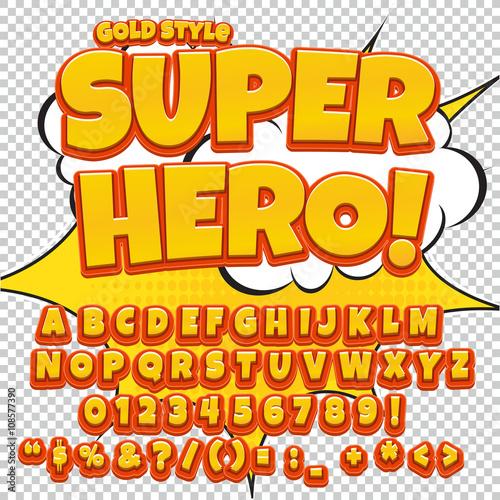 Zdjęcie XXL Komiks zestaw żółty alfabet. Litery, cyfry i liczby na ilustracje dla dzieci