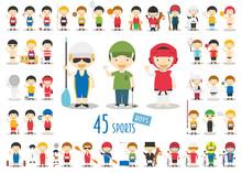 Big Set Of 45 Cute Cartoon Sport Characters For Kids. Funny Cartoon Boys. Olympics Sports Vector Illustrations