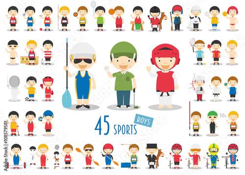 Fotografía Big Set of 45 cute cartoon sport characters for kids