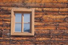 New Wooden Window In Wooden Wall