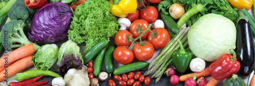 Tuinposter Groenten Colorful fresh vegetables banner